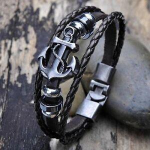 Armband-Bracelet-Surfer-Style-034-NEU-034-Anker-Kunstleder-Unisex-Herren-Frauen