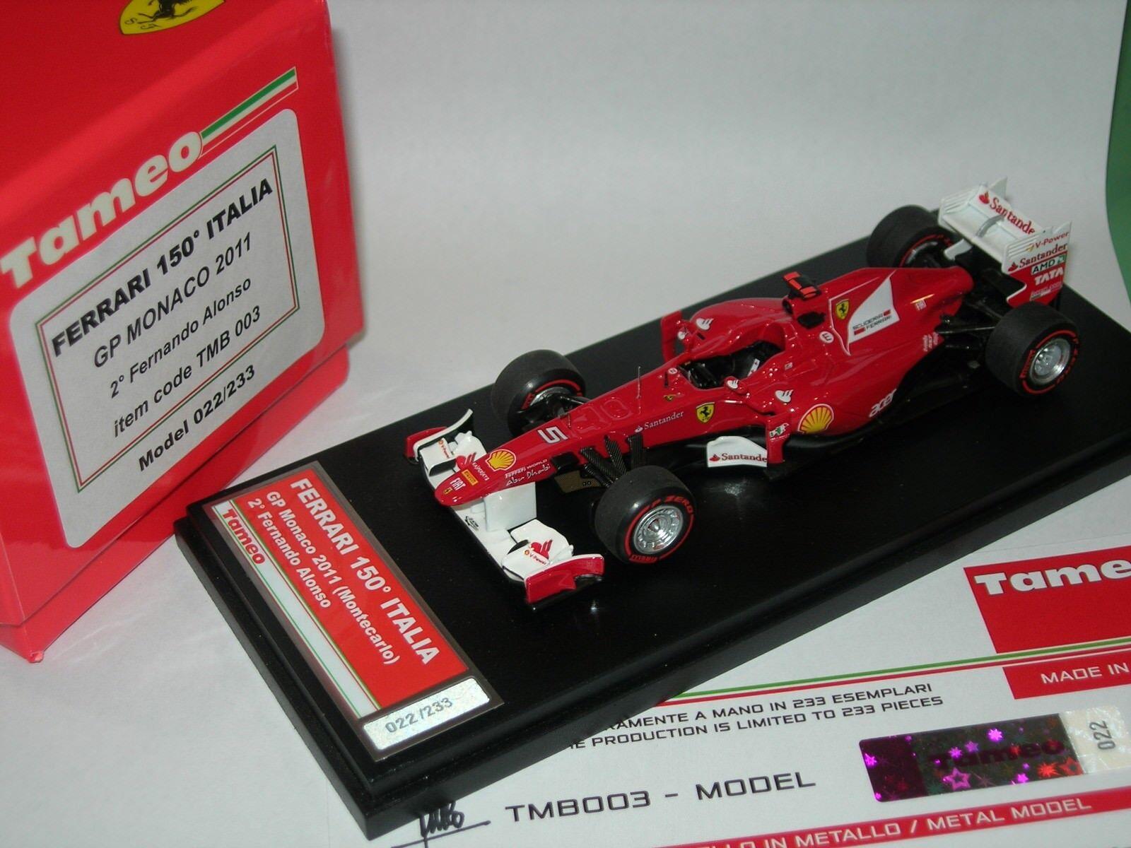 Tameo 1 43 Built TMB 003 Ferrari 150 Italia F.1 2nd Monaco GP 2011 Alonso NEW