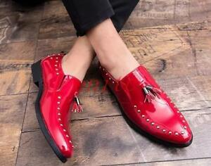 Men-039-s-Flats-shoes-Round-toe-Slip-on-Rivet-Tassels-Patent-Leather-Dress-Loafers