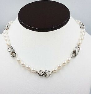 63675cf91 Image is loading Tiffany-amp-Co-Sterling-Silver-amp-Pearl-Infinity-