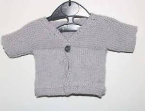 Intelligent Tricoté à La Main 0-3 Mois Baby Cardigan Argent-afficher Le Titre D'origine Prix RéDuctions