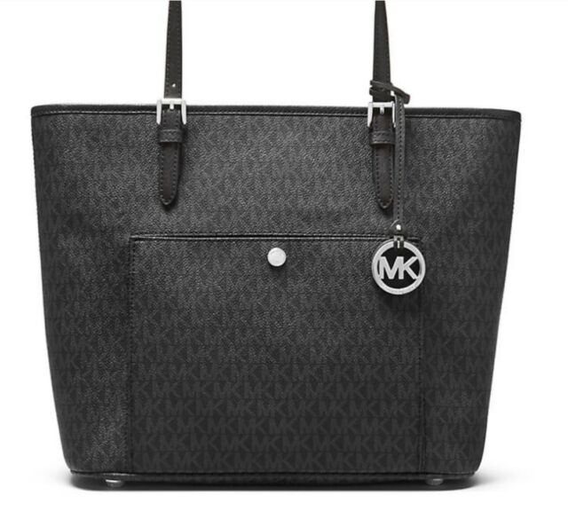 b370f77eb20edc MICHAEL KORS NWT JET SET LARGE SIGNATURE SNAP POCKET TOTE PURSE BLACK  38F8STTT3B