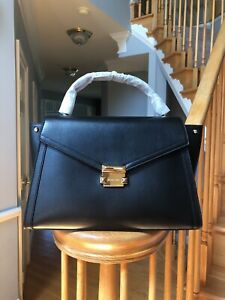 NWT-Michael-Kors-Whitney-Large-Leather-Satchel-30T8SXIS3L-Gold-tone-Black-348
