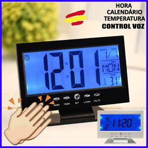 Reloj DESPERTADOR LCD control VOZ Tactil CALENDARIO Temperatura Alarma Musica