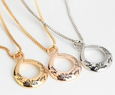 MY SISTER MY FRIEND SILVER GOLD ROSE GOLD PENDANT NECKLACE LOVE FAMILY INFINITY