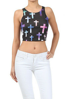 Popular Trends Galaxy Cross Printed Cropped Top sleeveless Round Neck S M L