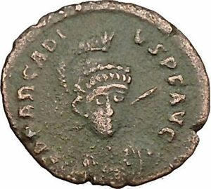 Arcadius-facing-RARE-401AD-Ancient-Roman-Coin-Constantinopolis-seated-i39416