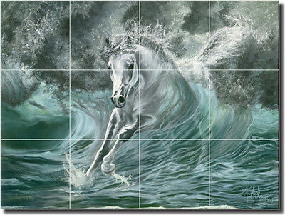 "Ceramic Tile Mural Backsplash McElroy Horse Equine Art 17"" x 12.75"" KMA012"