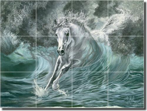 "Ceramic Tile Mural Backsplash McElroy Horse Equine Art 17"" x 12.75"" KMA012"