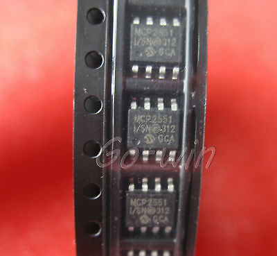10PCS MCP2551-I/SN IC TRANSCEIVER CAN HI-SPD 8-SOIC NEW