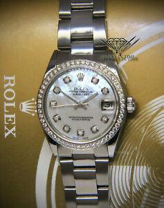 Rolex-Datejust-Steel-amp-Diamond-MOP-Ladies-Midsize-31mm-Watch-6824