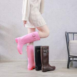 Womens-Waterproof-Rain-Boots-Mid-calf-Shoes-Motorcycle-Galoshes-Non-slip-Wellies