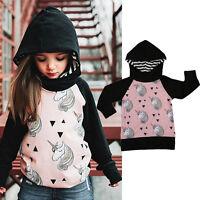 Toddler Kids Girls Long Sleeve Unicorn Animals Jacket Coat Hooded Outerwear Top