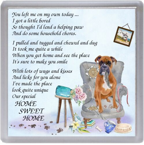 "Boxer Dog Coaster /""HOME SWEET HOME Poem ..../"" Novelty Gift by Starprint"