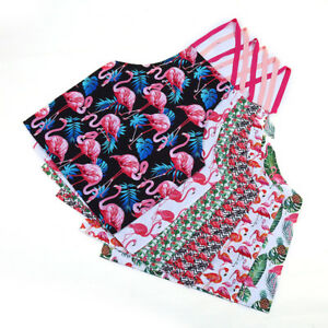 Am-KF-KQ-Women-039-s-Flamingo-Flower-Print-Kitchen-Cafe-Cooking-Bib-Apron-Overclo