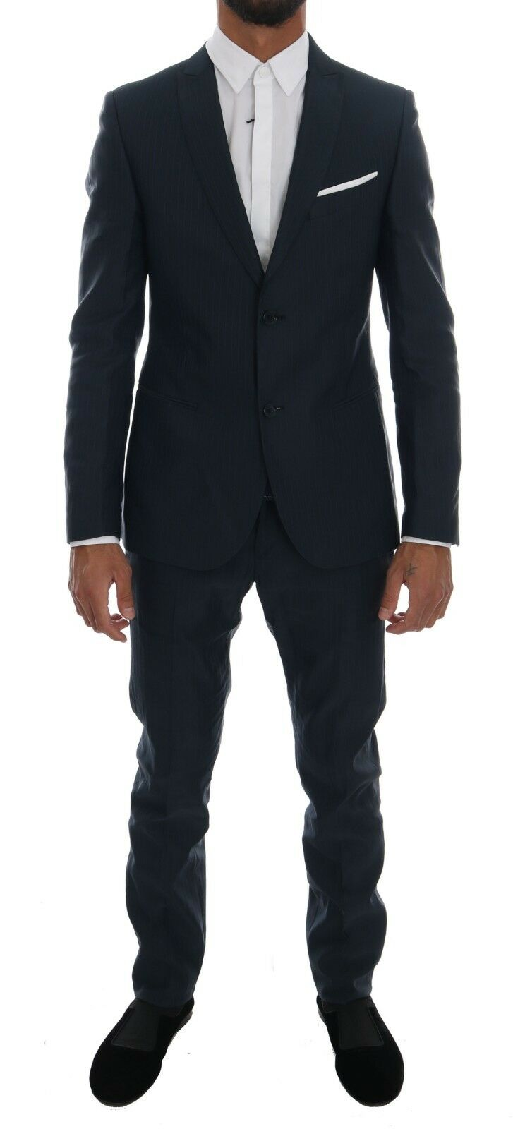 NEW 700 DANIELE ALESSANDRINI Suit Blau Striped Two Button Slim Fit IT48 / US38
