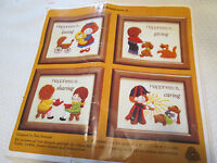 Vintage Creative Circle Embroidery Crewel Kit-happiness Is -4 Frames 4006