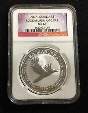 1996 $1 1Oz. Silver Australia Kookaburra KM-289.1 MS69 NGC