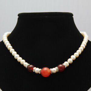 Fashion-7-8mm-natural-agate-freshwater-white-cultured-round-pearl-necklace-17-034