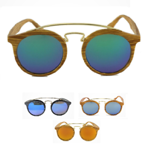 dc2eb13511 Dettagli su occhiali da sole uomo donna effetto legno rotondi retrò wood  specchio surf 2019