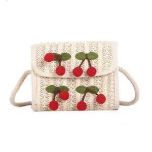 Women-Girls-Straw-Shoulder-Bag-Crossbody-Bag-Beach-Bohemian-with-Red-Cherry-NeYJ