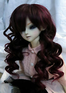Doll-Wig-Long-Layered-Curly-Brown-Burgundy-BJD-Ball-Jointed-Size-7-8-9-10-NEW