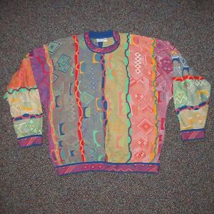 8fcca00f22bc WILD Vtg COOGI Textured Neon Accents COLORFUL Mercerized Cotton ...