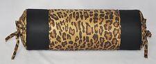 Pillow made w Ralph Lauren Venetian Court Leopard & Black Logo Fabric trim cord