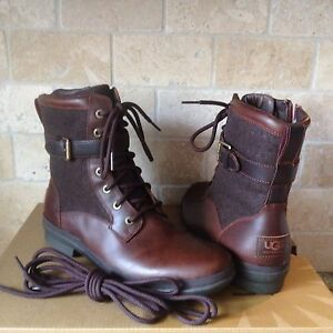 f72ea6e4fa2 Details about UGG KESEY CHESTNUT WATERPROOF LEATHER FUR COMBAT LACEUP BOOTS  SIZE US 11 WOMENS