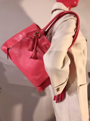 Big Leder Rosa Quaste Euc Pursecoral Anhnger Tote Chic New Tasche Spade York Kate RqAFF1