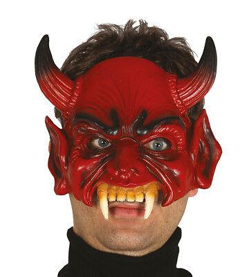 Mezza maschera horror con le corna in lattice Halloween CARNEVALE MASCHERA HORROR