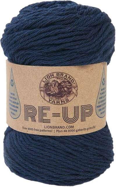 Lion Brand Yarn Re Up Navy 85/% Cotton 15/% Polyester 25 Oz 70G 114 yds 105M