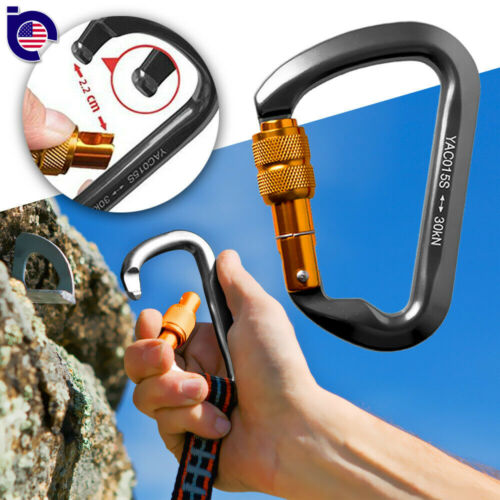 CARABINER STEEL Twist Lock 30KN Screw Locking Rock Climbing Hiking Gate Outdoor