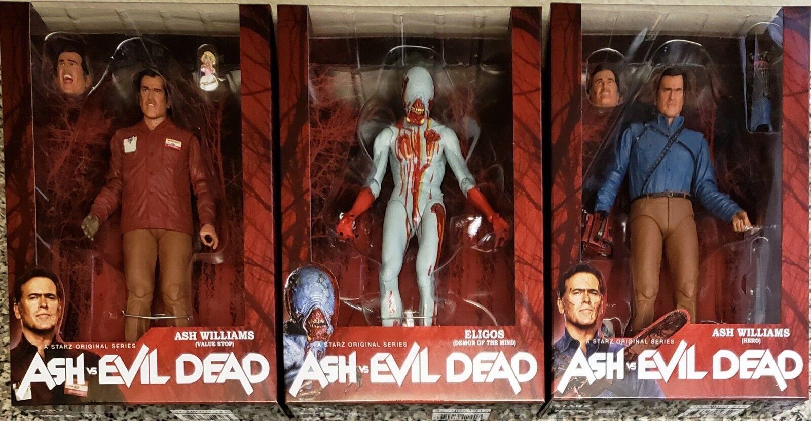 NECA ASH VS EVIL DEAD, SERIES 1 COMPLETE, VALUE STOP + HERO ASH, & ELIGOS, NEW