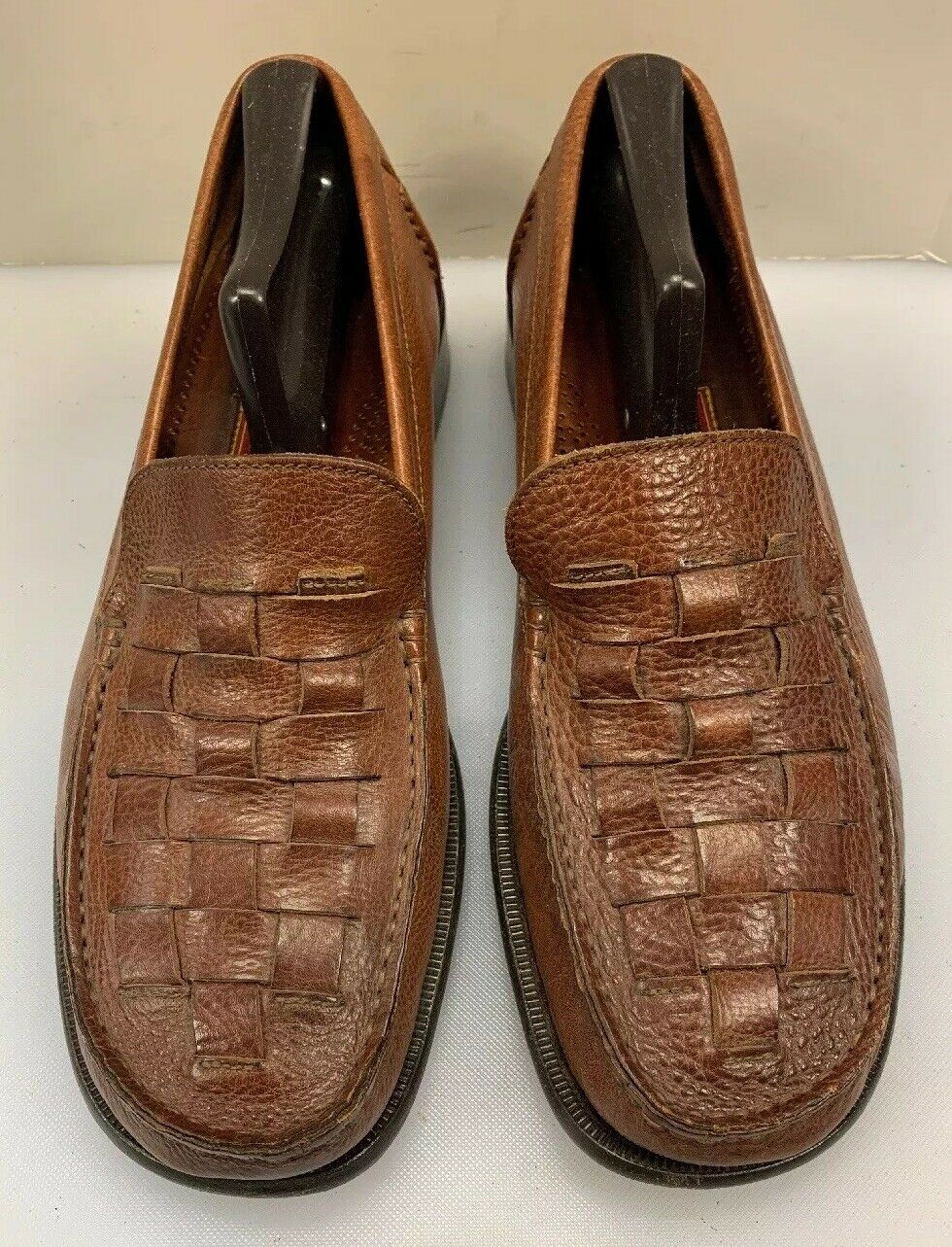 Cole Haan Men 10 M Woven Slip On Loafers Brown Leather Made Crafted in