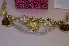 Betsey Johnson Watch Gold Charm Chain Bracelet Heart Dead Battery