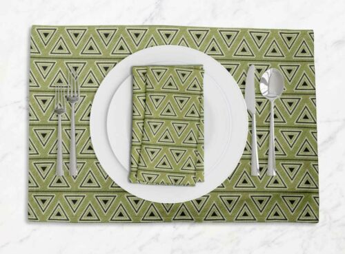 Details about  /S4Sassy Triangle Geometric Room Reversible Tablemats With Napkins set-GMD-35C