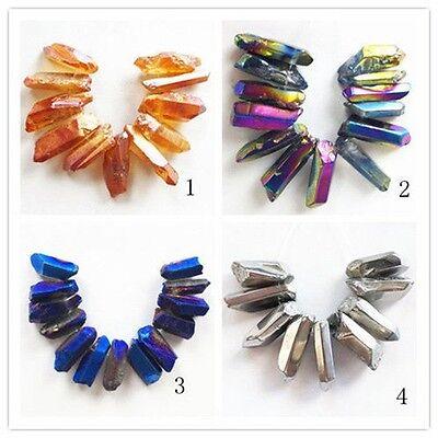 Mixed Color Titanium Crystal Agate Druzy Quartz Geode Stone Pendant Bead Set