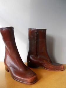 32dff8fcc4532 Details about Vintage 60s 70s Brown Square Toe Rubber Vegan Rain Boots  Retro Rockabilly Mod 7