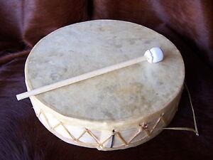 Rawhide-Drum-7-034-CEREMONIAL-Dance-Drum-circle-Shaman-ETHNIC-WITH-BEATER-DECOR