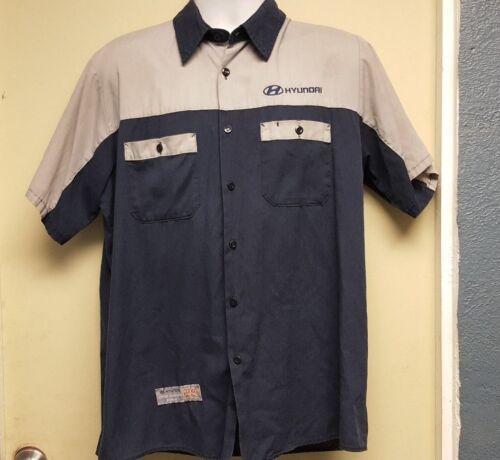Red Kap Hyundai Mechanic Tech Short Sleeve Shirt Blue //Gray