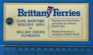 BRITTANY-FERRIES-Roscoff-Plymouth-perspex-plastic-cabin-key-fob-label-sign-1980s