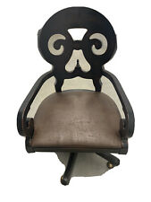 Solid Wood Desk Chair With Distressed Leather Seat And Brass Wheel Covers
