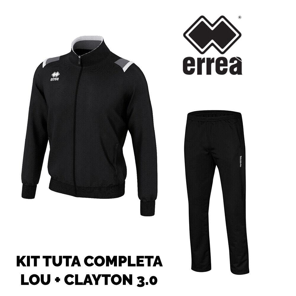 ERREA TUTA COMPLETA herren GIACCA LOU schwarz + PANTALONE CLAYTON 3.0 schwarz