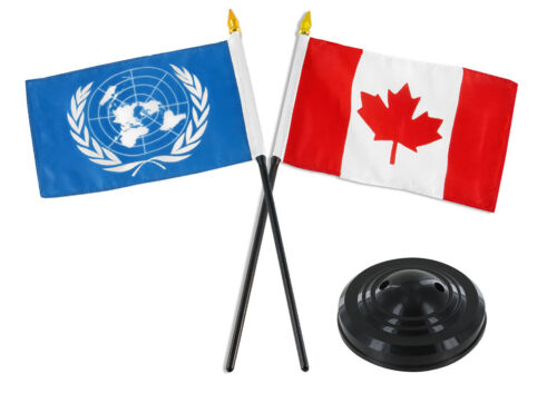 "Canada Canadian w// United Nations Flag 4/""x6/"" Desk Set Table Stick Black Base"