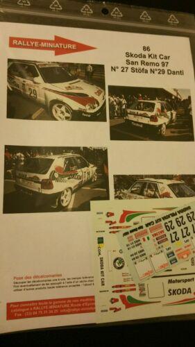 DECALS 1//43 REF 0086 SKODA FELICIA DANTI RALLYE ITALIA SAN REMO 1997 RALLY WRC