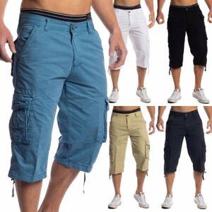 Messieurs-corsaire-short-3-4-pantalon-cargo-shorts-Capri-100-Coton-Bermuda-Cargo