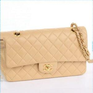 141f5ee5a33407 CHANEL W Double Chain Shoulder Bag Quilted CC Lambskin Leather Beige ...