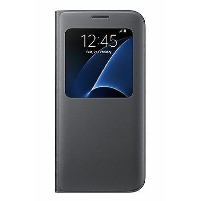 Official Samsung Galaxy S7 Edge Black S View Cover / Case - EF-CG935PBEGWW