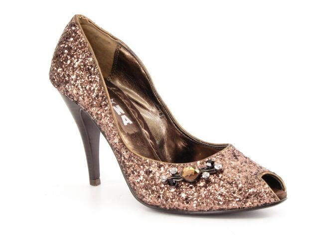 New NA NA Women Women Women Glitter Evening Dress High Hell Peep Toe Pump shoes Sz 8.5 M 3ffcdf